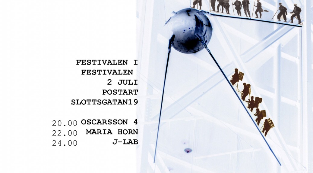 Festivalbild för 2 juli under cityfestivalen. Rysk sputniksattelit med collage av små bergvandrare som vandrar uppför sattelitens antenner. Programmet finns i bilden men finns också i programtexten i artikeln.