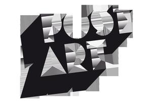 Post-Art logotyp i svartvit grafisk design med blocklikande bokstäver